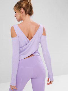 Pocket Cold Shoulder Stretchy Gymnastik Tee - Mauve M