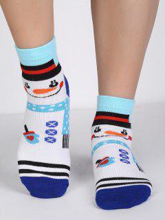 Cartoon Snowman Polka Dot Crew Socks - Multi