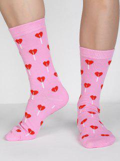 Romantic Heart Printed Winter Crew Socks - Light Pink