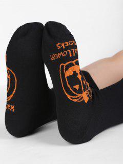 Halloween Pumpkin Cotton Winter Socks - Black
