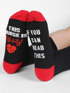 Fun Letter Sentences Decorative Mid Calf Socks - Black