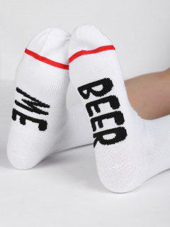 Novelty BEER ME Pattern Mid Calf Socks - White