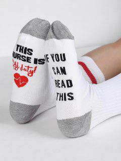 Fun Letter Sentences Decorative Mid Calf Socks - White