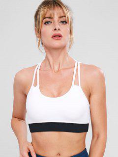 Strappy Gym Sport Bra - White L