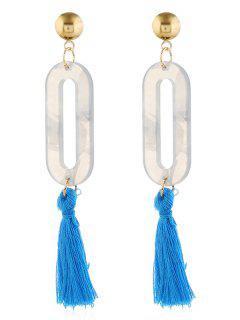 Tassel Hollow Out Design Drop Earrings - Blue