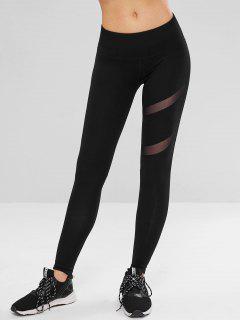 Mesh Panel Sporty Workout Leggings - Black S