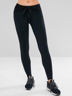 Workout Tied Gym Yoga Leggings - Black M