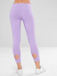 Yoga Hollow Out Sport Leggings - Mauve L