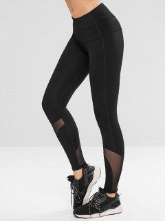 Mesh Panel Yoga Gym Leggings - Black M