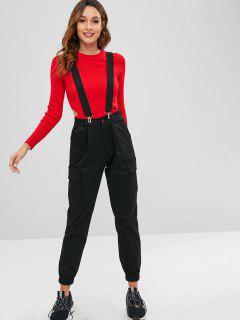 Suspender Cargo Pants - Black S
