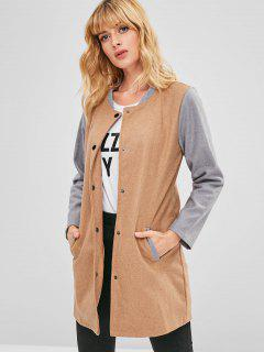 Faux Wool Contrast Sleeve Coat - Camel Brown L