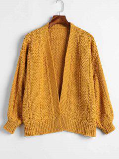 Lantern Sleeves Chunky Cardigan - Bright Yellow