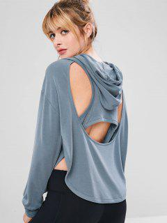 Racerback Sport Cut Out Gym Hoodie - Blue Gray S