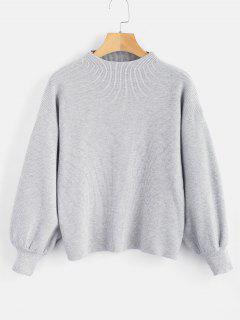 Drop Shoulder Plain Lantern Sleeve Sweater - Gray Cloud