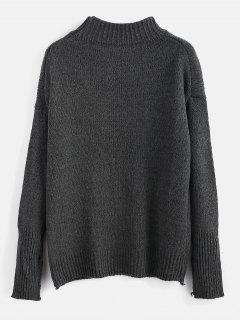 Plain Heathered Pullover Sweater - Carbon Gray