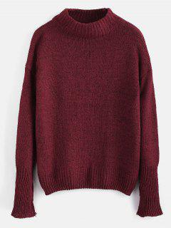 Plain Heathered Pullover Sweater - Red Wine