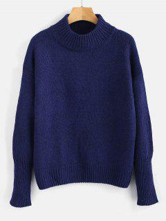 Plain Heathered Pullover Sweater - Navy Blue