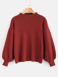 Tropfen Schulter Plain Lantern Sleeve Pullover - Roter Wein
