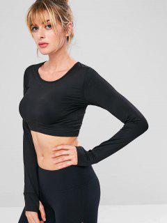 Crop Stretchy Sport Gym Tee - Black L