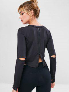 Zip Hollow Out Sport Stretchy Tee - Black L
