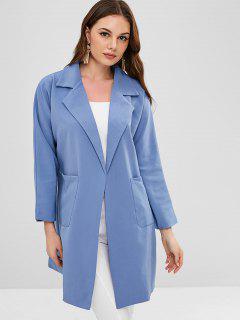 Taschen Mit Gürtel Revers Trenchcoat - Blaue Koifisch L