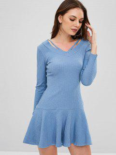Ribbed Long Sleeve Mini Dress - Blue Koi L