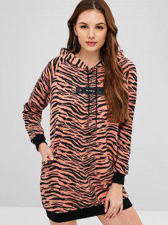 Side Pockets Zebra Print Hoodie Dress - Multi