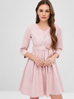 Casual Belted V Neck A Line Dress - Light Pink M