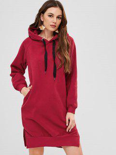Raglan Sleeve Pullover Hoodie Dress - Red Wine L