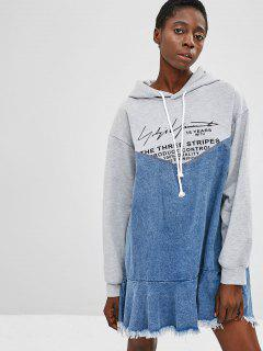 Raw Hem Graphic Denim Hoodie Dress - Multi L