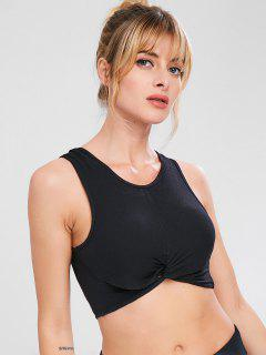 Twist Ribbed Tank Sport Gym Bra - Black L