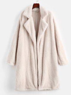 Lapel Collar Plain Faux Fur Coat - Beige L