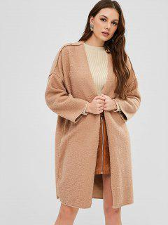 Faux Shearling Open Front Winter Coat - Camel Brown