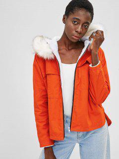Embroidered Zip Up Fur Collar Coat - Papaya Orange Xl