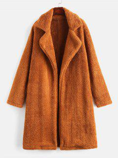 Lapel Collar Plain Faux Fur Teddy Coat - Light Brown M