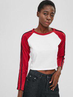Camiseta Raglan Manga Larga Recortada - Blanco M