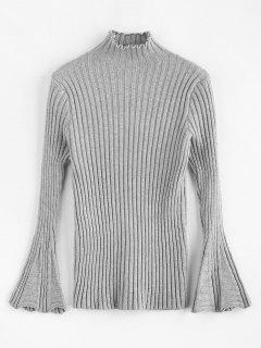 Bell-Hülsen-Mock-Neck-Pullover - Grau