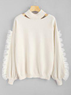 Voile Panel Rüschen Ausgeschnitten Pullover - Warmweiß