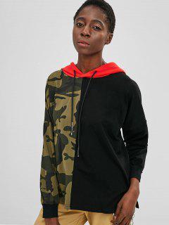 Drop Shoulder Camo Print Contrast Hoodie - Multi