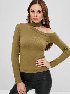 Ausgeschnittener Pullover - Tarnanstrich Grün