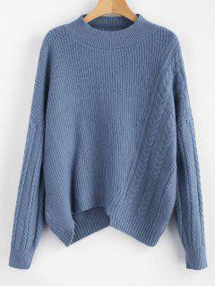 Übergroßer Pullover Mit Zopfmuster - Blaugrau