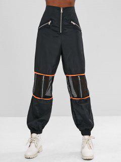 Zippered Mesh Panel Jogger Pants - Black L