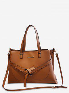 Knotted Design PU Design Tote Bag - Brown