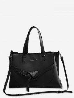 Knotted Design PU Design Tote Bag - Black