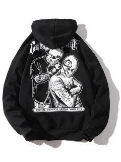 Halloween Skulls Printed Pouch Kangaroo Hoodie - Black L