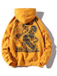 Halloween Skulls Printed Pouch Kangaroo Hoodie - Bee Yellow 3xl