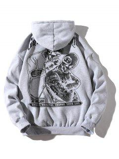 Halloween Skulls Printed Pouch Kangaroo Hoodie - Light Gray S