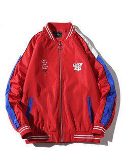 Letter Pattern Color Block Raglan Sleeves Jacket Coat - Lava Red 2xl