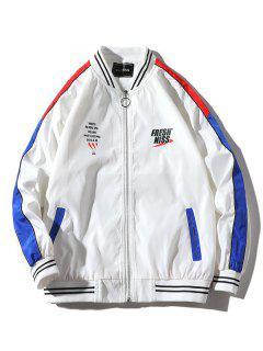 Letter Pattern Color Block Raglan Sleeves Jacket Coat - White M