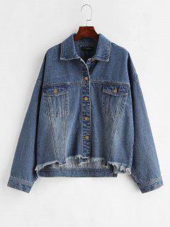 ZAFUL Frayed Hem Pockt Denim Shirt Jacket - Denim Dark Blue L